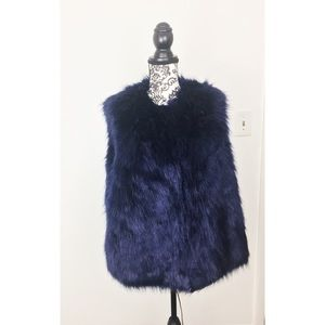 Black Blue Faux Fur Vest